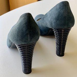 Delman Shoes - Grey Blue Suede Delman Pumps with Ribbed Heel 7.5